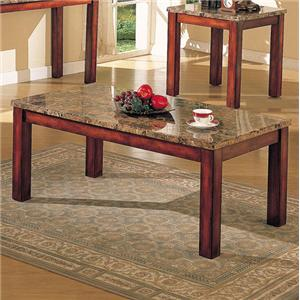 Brown Marble Coffee Table with Wood Block Legs