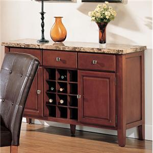 3 Drawer Marble Top Sideboard with Built-In Wine Storage