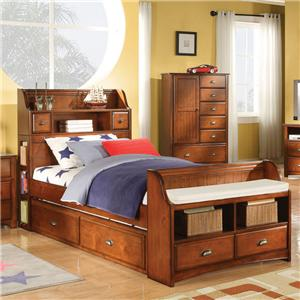 Twin Bed with Trundle and Bookcase Headboard and Footboards
