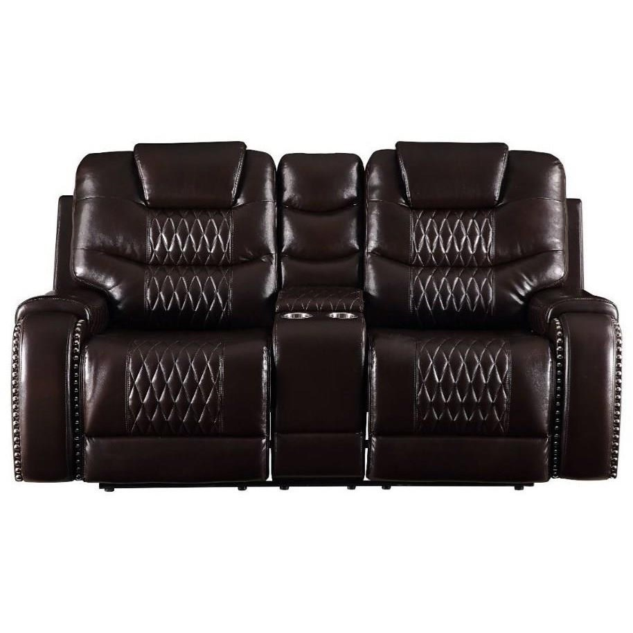 Braylon Reclining Loveseat w/Console by Acme Furniture at Carolina Direct