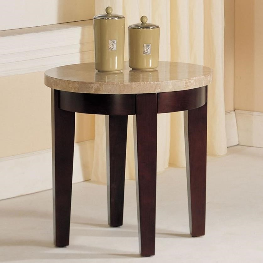 Britney Round White Marble Top End Table by Acme Furniture at Carolina Direct