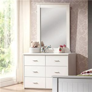 Casual Six Drawer Dresser and Mirror Set