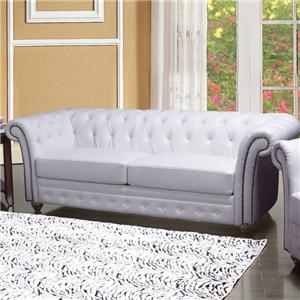 Traditional Tufted Sofa with Rolled Back and Nailhead Trim