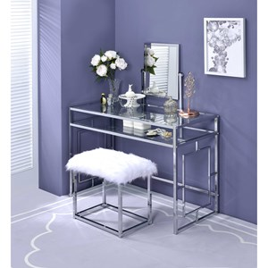 Contemporary Vanity Set with Faux Fur Bench