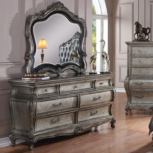 7 Drawer Dresser with Granite Top and Mirror