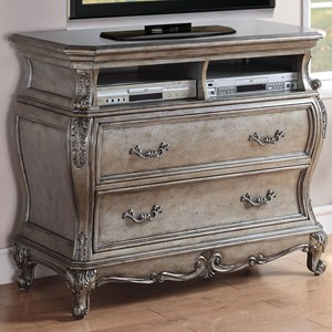 2 Drawer TV Console with Felt Lined Top Drawer
