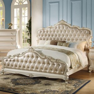 Upholstered Queen Bed with Tufted Headboard