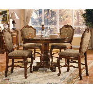 5 Piece Counter Height Dining Set with Fabric Upholstered Chairs