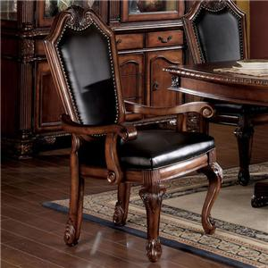 Shield Back Dining Arm Chair With Faux Leather Seat And Back