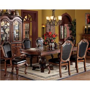 7 Piece Formal Dining Set with Faux Leather Upholstered Chairs