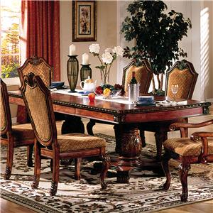 Rectangle Double Pedestal Dining Table With Leaves