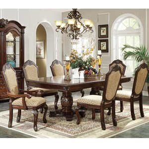 7 Piece Formal Dining Set with Fabric Upholstered Chairs