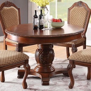 Traditional Round Dining Table with 1 Table Leaf