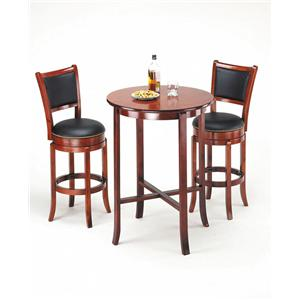 Transitional Oak Bar Set with Two Swivel Stools