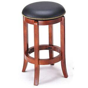Transitional Upholstered Cherry Counter Stool with Nailhead Trim