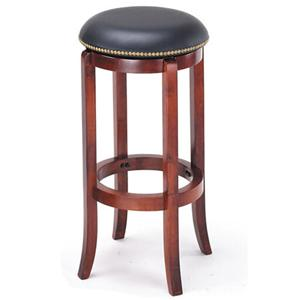 Transitional Upholstered Cherry Bar Stool with Nailhead Trim