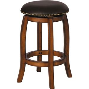 Transitional Vintage Oak Counter Stool with Leather Seat and Nailhead Trim