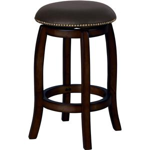 Transitional Espresso Bar Stool with Leather Seat and Nailhead Trim