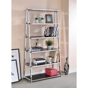 Chrome Finish Bookshelf High Gloss Black Shelves
