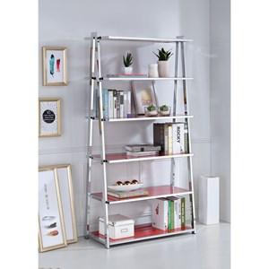 Chrome Finish Bookshelf High Gloss Red Shelves