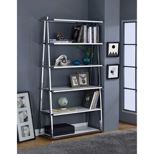 Chrome Finish Bookshelf with High Gloss White Shelves
