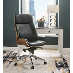 Contemporary Office Chair with Bentwood Frame and Black Bonded Leather