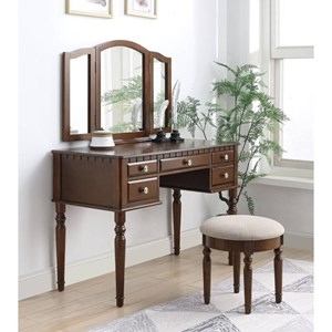 Traditional Vanity Set with Upholstered Bench