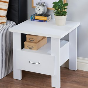 Casual White-Finished Nightstand with 1 Shelf