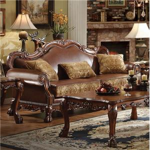 Traditional European Sofa with Two Tone Faux Leather Upholstery and 3 Pillows