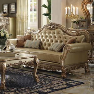 Traditional European Sofa with Faux Leather Upholstery and 4 Pillows