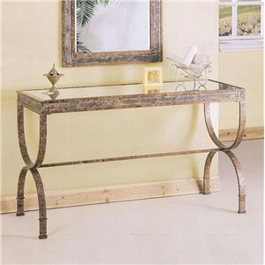 Rectangular Console Table with Glass Table Top