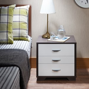 Contemporary Two-Toned Nightstand with Metal Drawer Handles