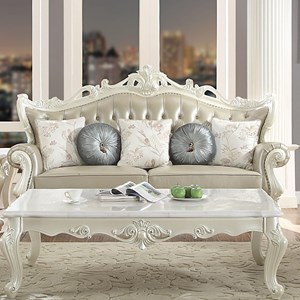 Ornately Carved Traditional Tufted Leather Sofa with 5 Accent Pillows