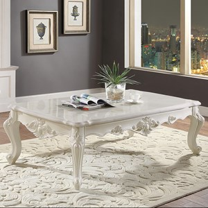 Ornately Carved Traditional Coffee Table with White Marble Top