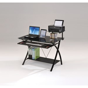Contemporary Computer Desk with Roll Out Keyboard Tray