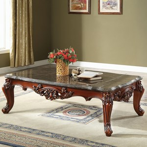 Ornately Carved Traditional Coffee Table with Black Marble Top