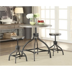 Industrial Counter Height Dining Set with 2 Stools