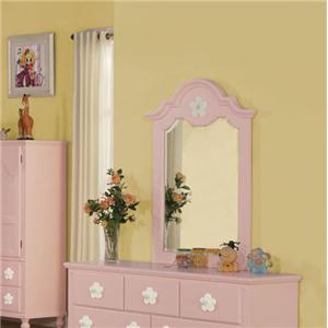Pink Dresser-top Mirror with Flower Detail