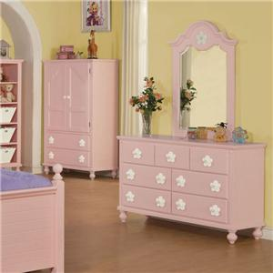 Pink Dresser and Mirror Combo