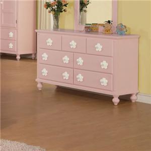 Pink Dresser with White Flower Hardware