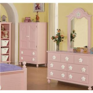 Pink TV Armoire with White Flower Hardware