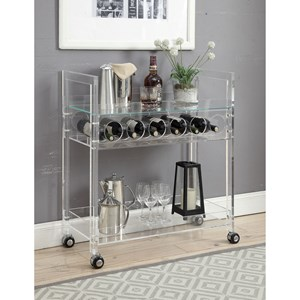 Clear Acrylic and Glass Serving Cart