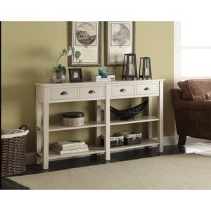 Casual Console Table with 4 Drawers and 4 Shelves