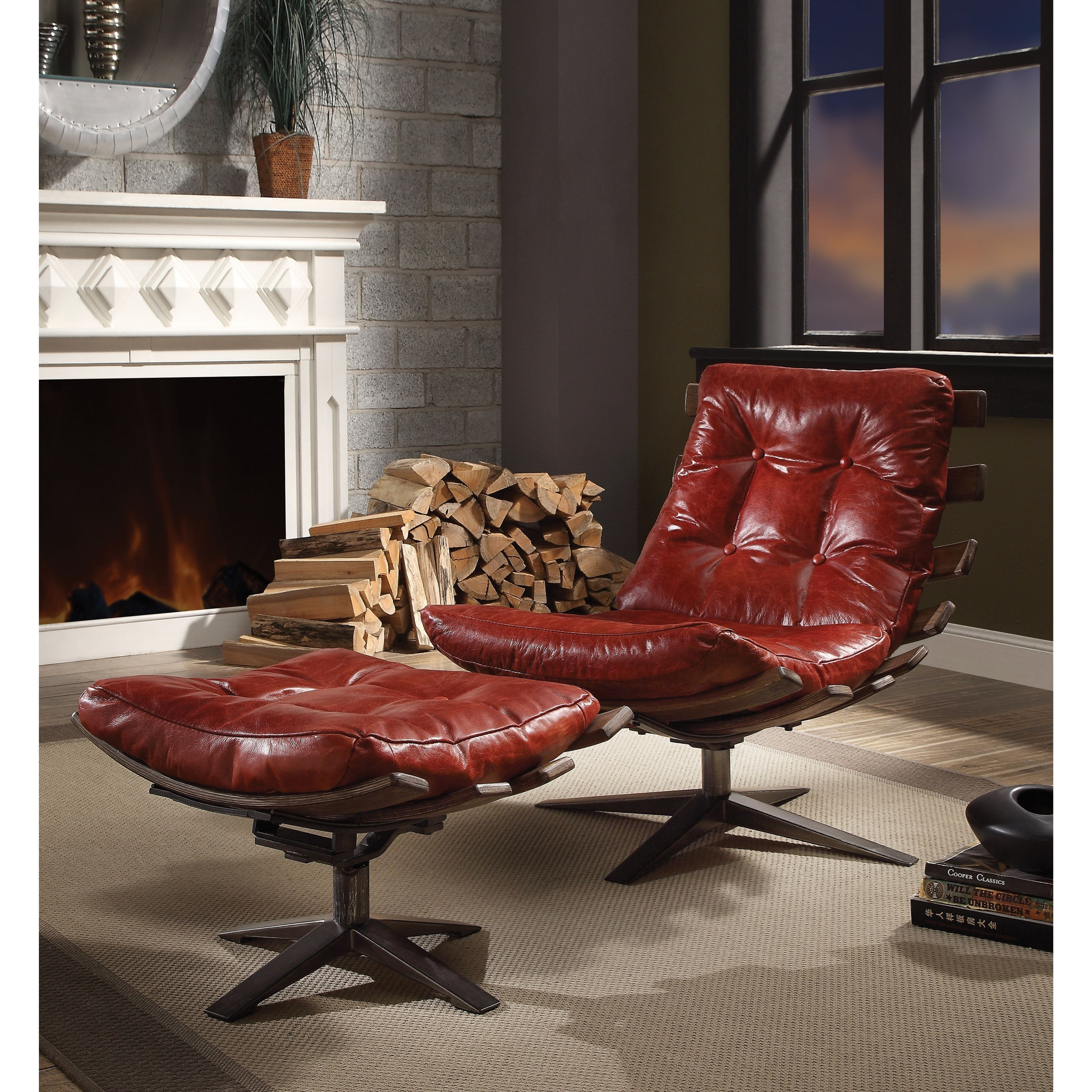 Gandy Chair and Ottoman Set by Acme Furniture at Del Sol Furniture