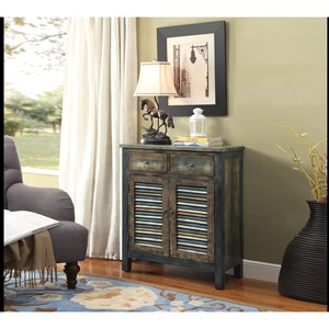 Rustic Console Table with 2 Drawers and Storage Behind Doors