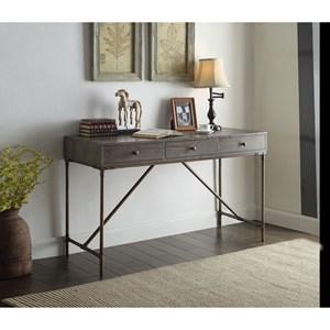 Dark Oak Finish Desk w/ 3 Drawers & Metal Base