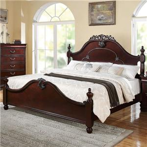 King Bed with Crown Carving