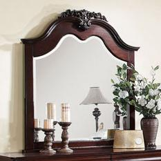 Mirror with Decorative Crown Carving