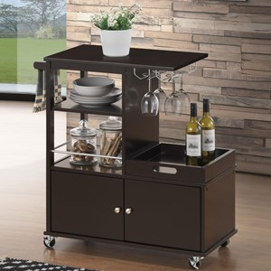 Transitional Bar Serving Cart with Glassware Rack
