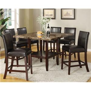 7 Piece Counter Height Dining Set with Square Pedestal Table